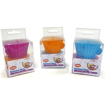 SILICONE MUFFIN CASES 2 FUNNY FACES