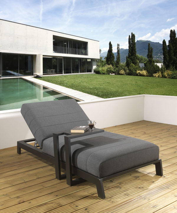 Bondi upholstered Sunlounger and waterproof cover - Slate fabric