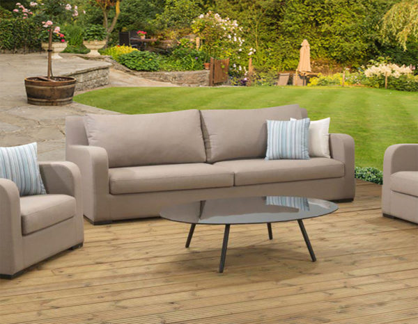 Brisbane Large Sofa 3pc upholstery set and coffee Table with waterproof covers - Latte fabric
