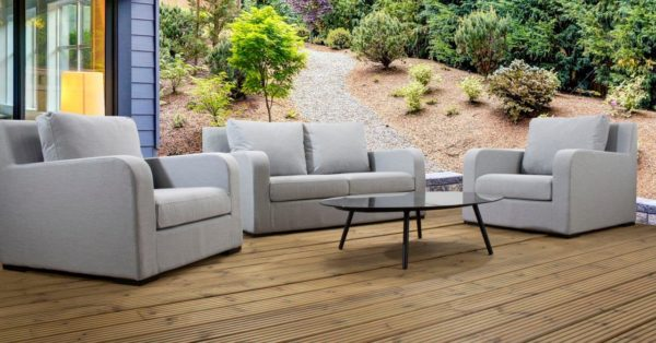 Brisbane Large Sofa 3pc upholsteryset withglass top coffee table and waterproof covers - Grey Fabric