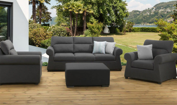 Byron 3 seater 3pc upholstery suite with with a footstool / drinks tray and waterproof covers - Slate Fabric