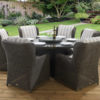 6 seat Clinton Brown dining set with Capri and Asha fabric combination