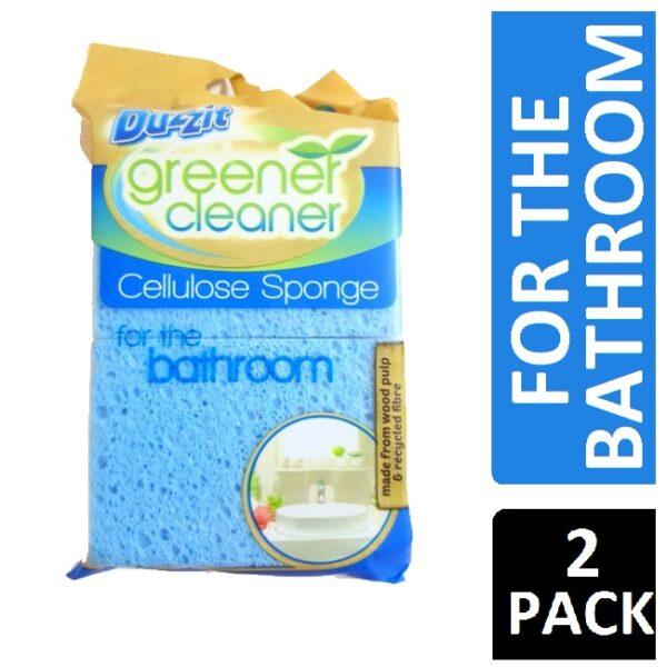 DUZZIT GREENER CLEANER CELLULOSE SPONGE FOR THE BATHROOM 2PK