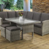 Hampton Grey Casual dining Modular set with a glass table top and Dallas fabric
