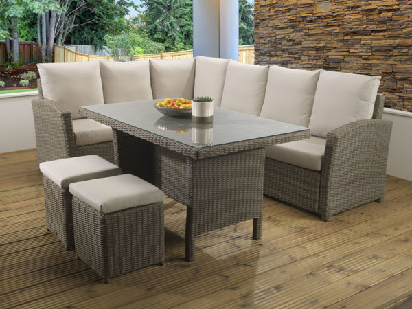 Hampton Mink Casual dining Modular set with a glass table top and Malvern fabric