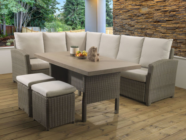 Hampton Mink Casual dining Modular set with a Tan Lavastone table top and Malvern fabric