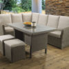 Hampton Brown Casual dining Modular set with a glass table top and Malvern fabric