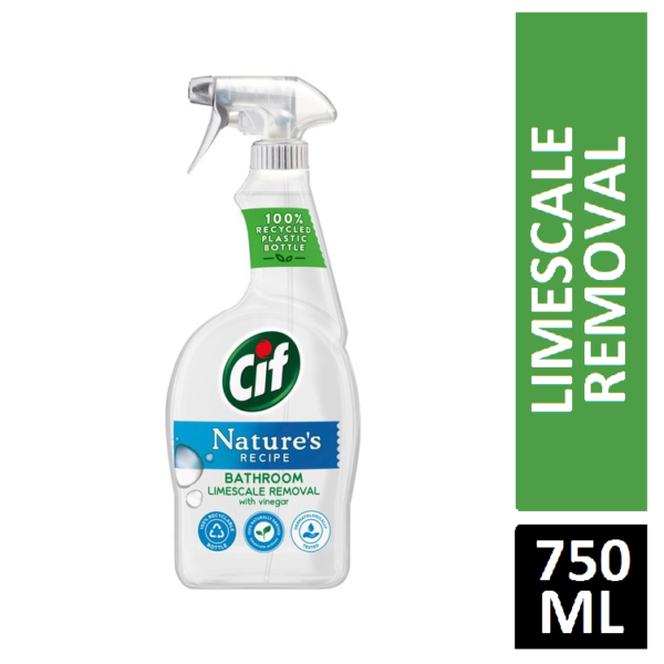CIF NATURE'S RECIPE BATHROOM LIMESCALE REMOVAL WITH VINEGAR 750ML