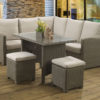 Long Island Mink casual dining lounge set with a glass table top and Malvern fabric