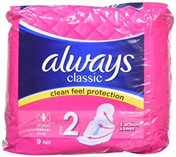 Always Classic Maxi Pads Wings 9's