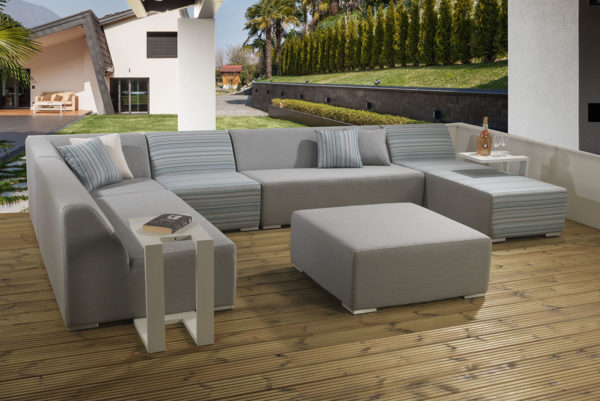 Melbourne 8pc modular upholstery set with white drinks tables and waterproof covers - Combination of Porto and Grey Fabric