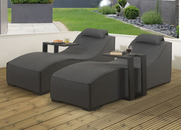 Pair of Sydney upholsteredSunloungers and 2 x black drinks tables with waterproof covers - Slate Fabric