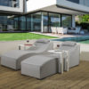 Pair of Sydney upholstered Sunloungers and 2 x white drinks tables with waterproof covers - Grey Fabric
