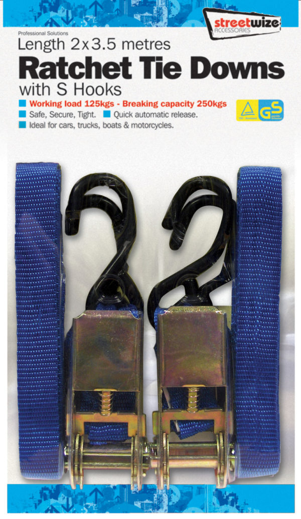 2 x 3.5 Metre Ratchet Tie Downs with Hooks