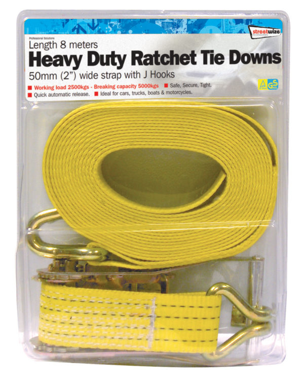8 Metre H. Duty Commercial Ratchet Tie Down(50mm wide)