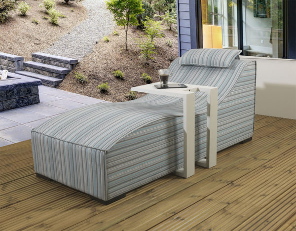 Sydney upholsteredSunlounger & waterproof cover - Porto stripe fabric