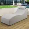 Sydney upholstered Sunlounger & waterproof cover - Grey fabric