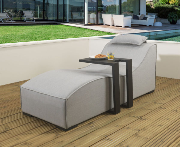 Pair of Sydney upholstered Sunloungers and 2 x black drinks tables with waterproof covers - Grey Fabric