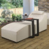 Sydney upholstered Sunlounger & waterproof cover - Cream fabric