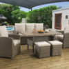 Winchester Grey Casual dining Modular set with a Slate Lavastone table top and Dalla fabric