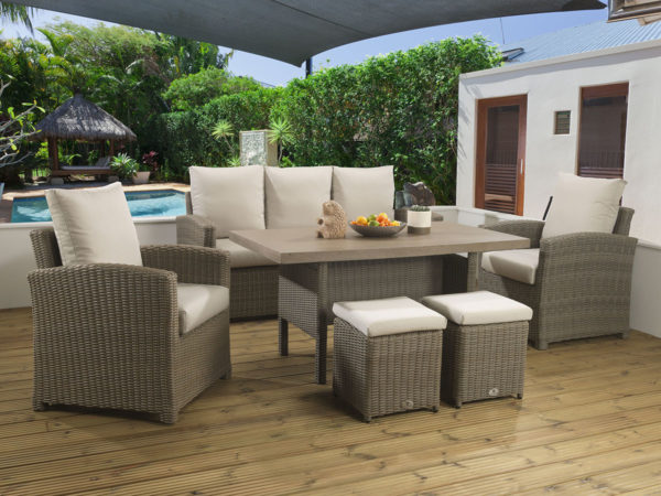 Winchester Mink Casual dining Modular set with a Tan Lavastone table top and Malvern fabric