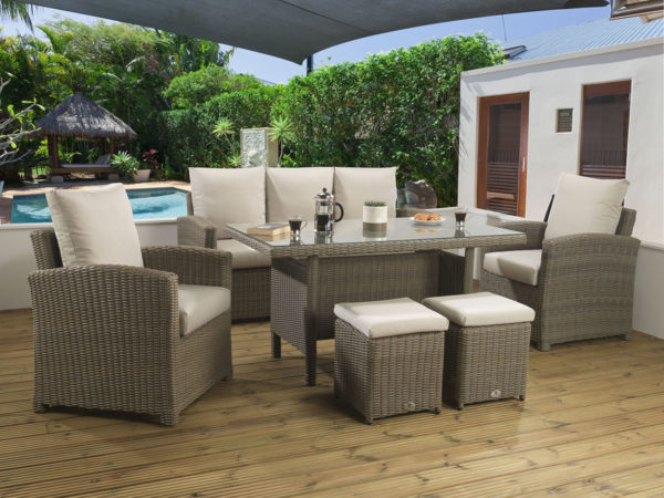 Winchester Mink Casual dining Modular set with a glass table top and Malvern fabric