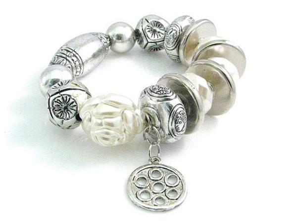 fashion bracelet cream/silver