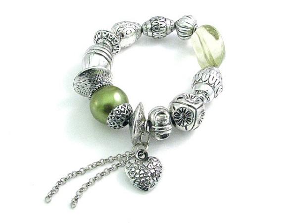 fashion bracelet green/silver