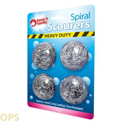 HEAVY DUTY SPIRAL STEEL SCOURER 4PK