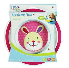 First Steps Jungle Pals Mealtime Plate | Pink Bunny | BPA Free 12months+