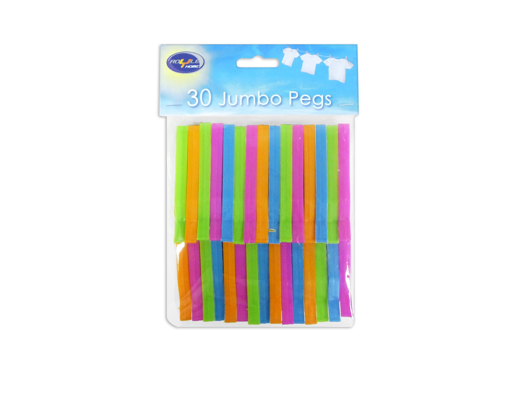 Pack of 30 Jumbo Multi Coloured Clothes Pegs Strong Washing Clothing Hanging