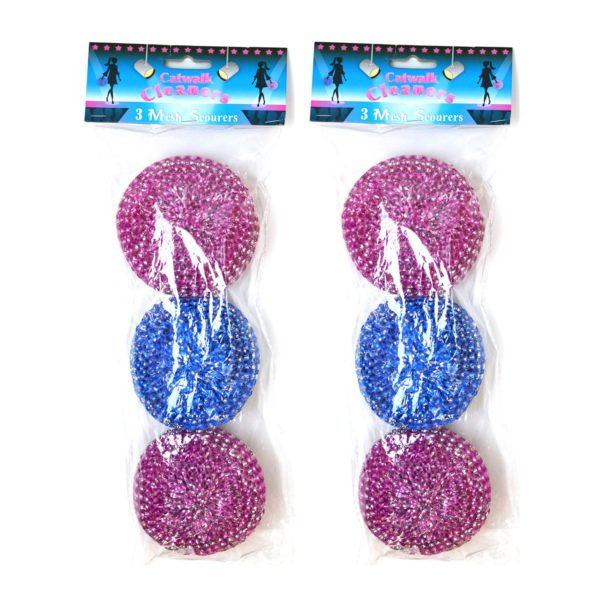 Cleaning Scourers Mesh Pack of 6 Pink and Blue Jewelled Design Strong Cleaning