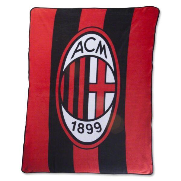 AC Milan Crest Fleece Blanket, Red/Black, 127 x 152 cm