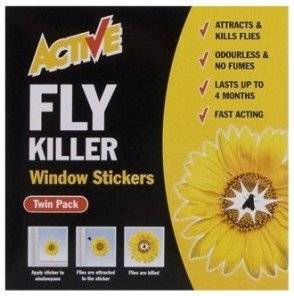 Active Fly Killer Window Sticker Twin Pack OUT OF DATE STILL PERFECTLY FINE.