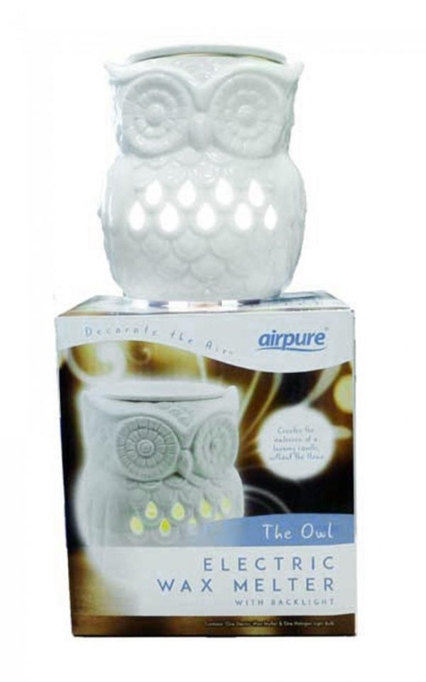 AIRPURE OWL ELECTRIC WAX MELTER WITH BACK LIGHT + A FREE PACK OF MELTS