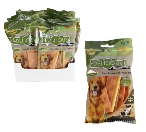 Natural Healthy Dog Treats Tasty Beef Flavoured Rashers Natural Meaty Dog Chews