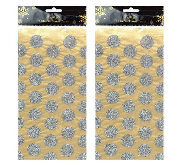 2 X 2 CHRISTMAS TISSUE SHEETS SILVER