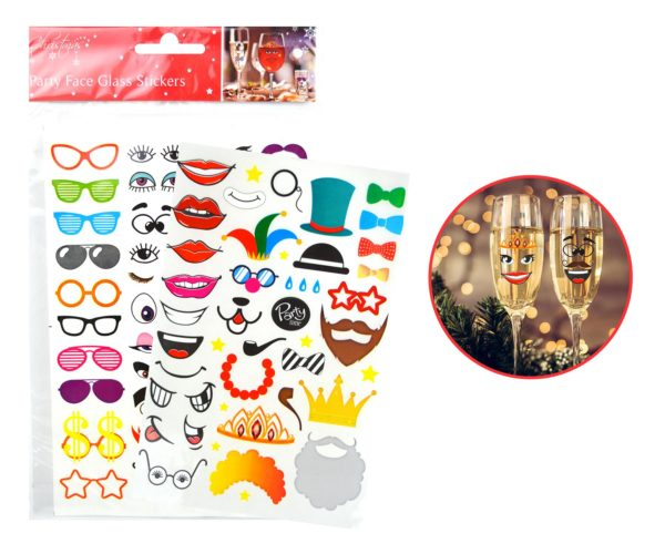 2 X PARTY FACE GLASS STICKERS