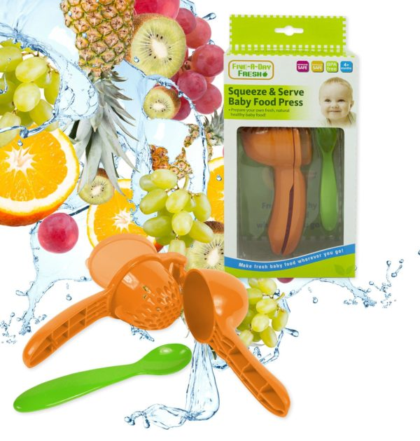 Squeeze Baby Fresh Food Press & Spoon - Green