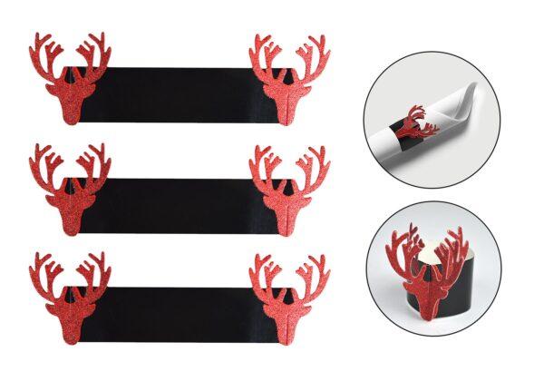 2 X RED GLITTER REINDEER NAPKIN RINGS