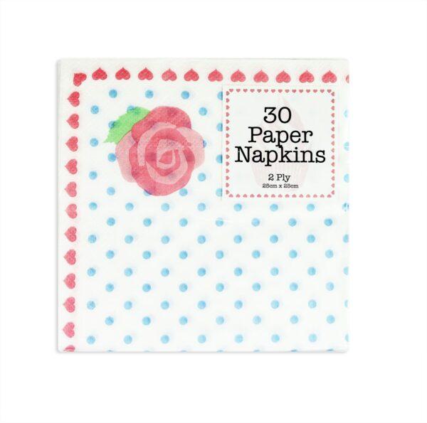 Vintage Paper Napkins Afternoon Tea Party Rose Polka Dot Decoration x 30