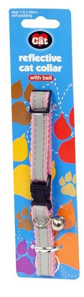 World of Pets Reflective Cat Collar with Bell 4 Colours Soft Padding Adjustable