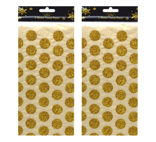 2 X 2 CHRISTMAS TISSUE SHEETS GOLD