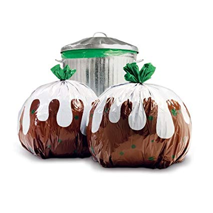 8 Christmas Pudding Kitchen Bin Bags