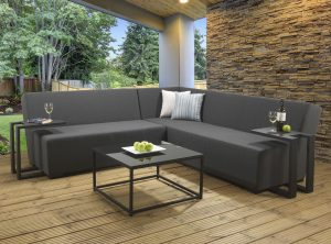 Long Island Grey casual dining lounge set with a Slate Lavastone table top and Dallas fabric