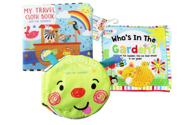Pack of 3 Touch and Feel Baby Learning Books Toddler Fun Interactive Cloth Book