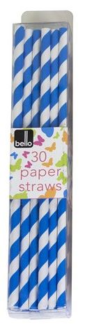Pack of 30 Blue Striped Paper Straws for Party Summer Outdoor Events