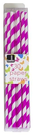 Pack of 30 Pink Striped Paper Straws for Party Summer & Outdoor Events