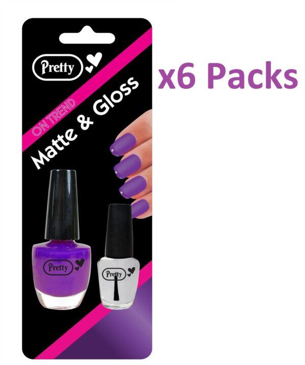Nail Polish Varnish Matte & Gloss 9ml Matte 4.5ml Clear Purple Pack Of 6