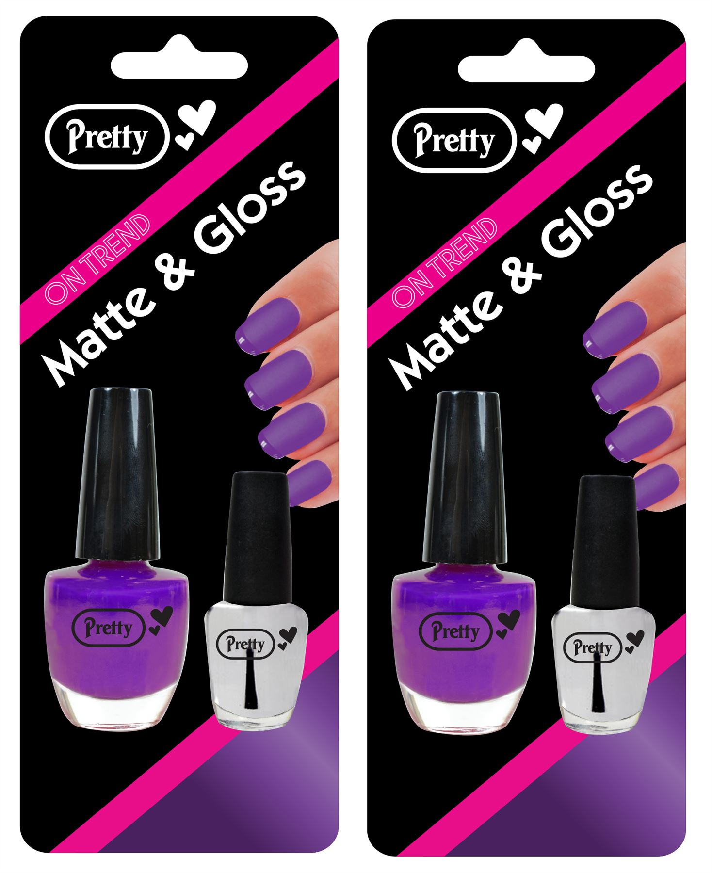 Pretty Nail Varnish Matte & Gloss | 9ml Purple Varnish & 4.5ml Clear Gloss | x2